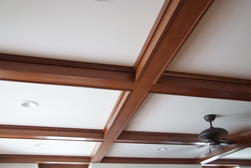 Coffered ceiling, in quartersawn white oak.