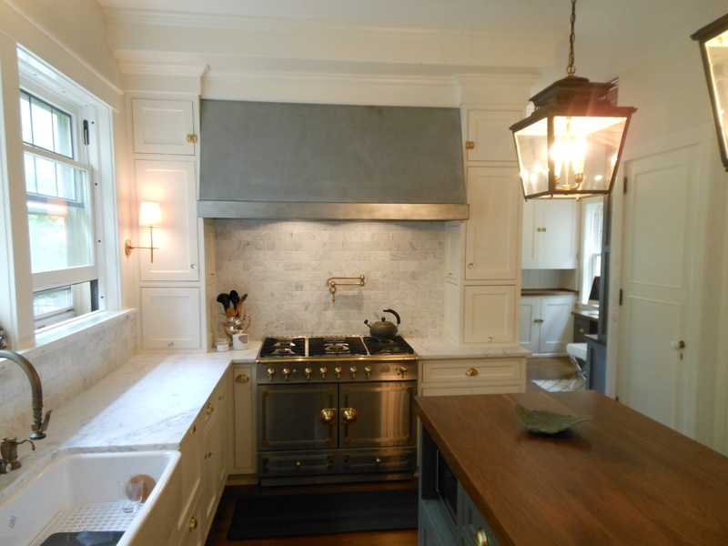 Custom zinc range hood, by the Zincsmith.
