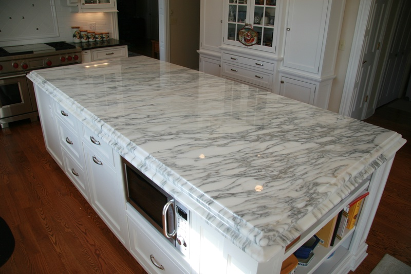 beautiful marble countertop on island